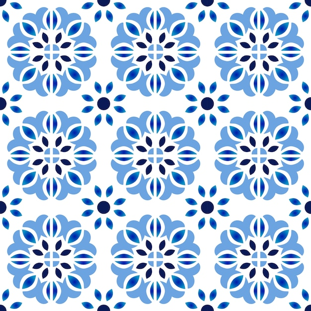 Motif de carrelage, fond transparent floral décoratif coloré, illustration vectorielle de beau papier peint en céramique décor Vecteur Premium
