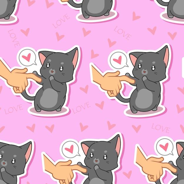 Motif de chat sans couture belle. Vecteur Premium