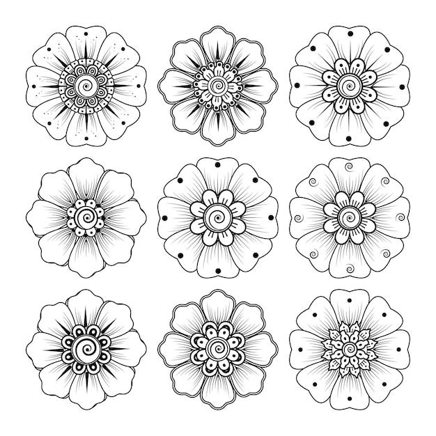 Motif Circulaire En Forme De Mandala Avec Fleur Pour Henné, Mehndi, Tatouage, Décoration. Ornement Décoratif Dans Un Style Oriental Ethnique. Page De Livre De Coloriage. Vecteur Premium
