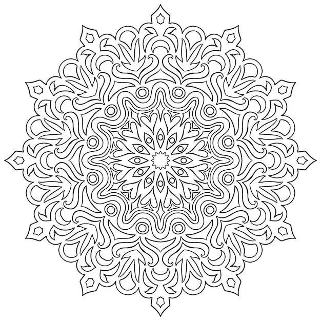 Motif circulaire en forme de mandala pour henné Vecteur Premium