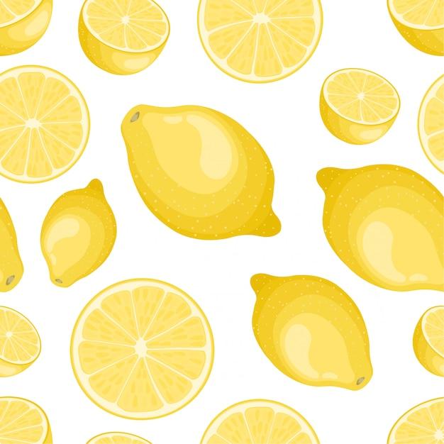 Motif citron sans soudure sur fond blanc Vecteur Premium