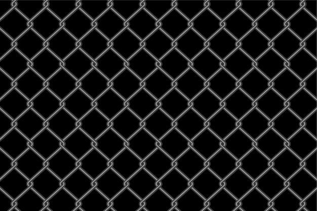 Motif De Clôture à Mailles Métalliques Sur Fond Noir Vecteur gratuit
