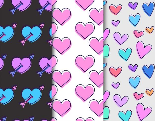 Motif coeur d'amour Vecteur Premium
