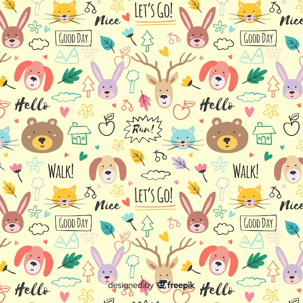 Motif coloré d'animaux et de mots doodle Vecteur gratuit