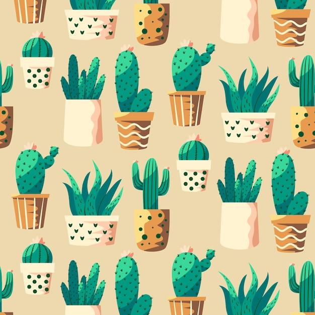 Motif Coloré Avec Différentes Plantes De Cactus Vecteur gratuit