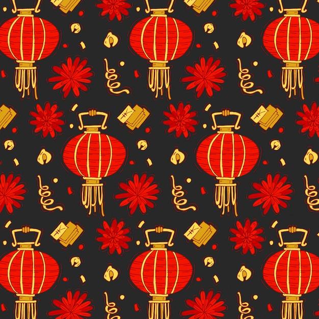 Motif Coloré Avec Des éléments Traditionnels Du Nouvel An Chinois. Fond Lumineux Du Nouvel An Chinois. Vecteur Premium