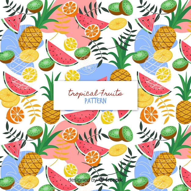 Motif coloré de fruits tropicaux Vecteur gratuit