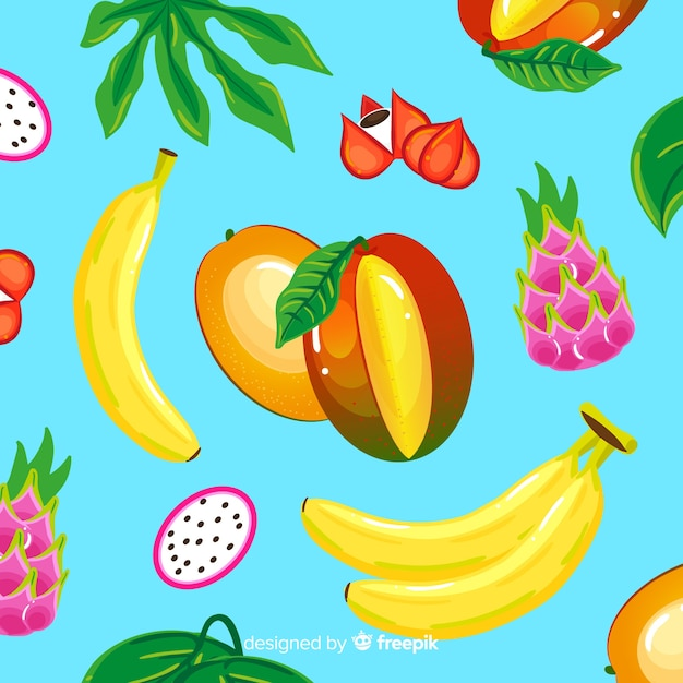 Motif coloré de fruits tropicaux Vecteur gratuit