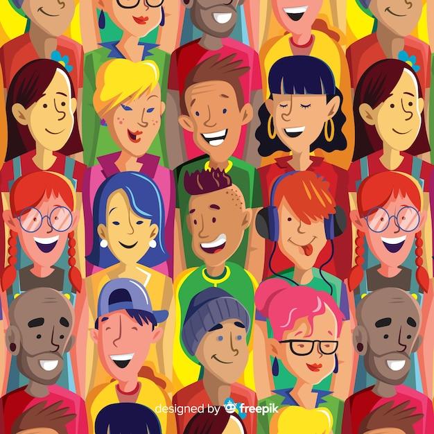 Motif coloré de jeunes Vecteur gratuit