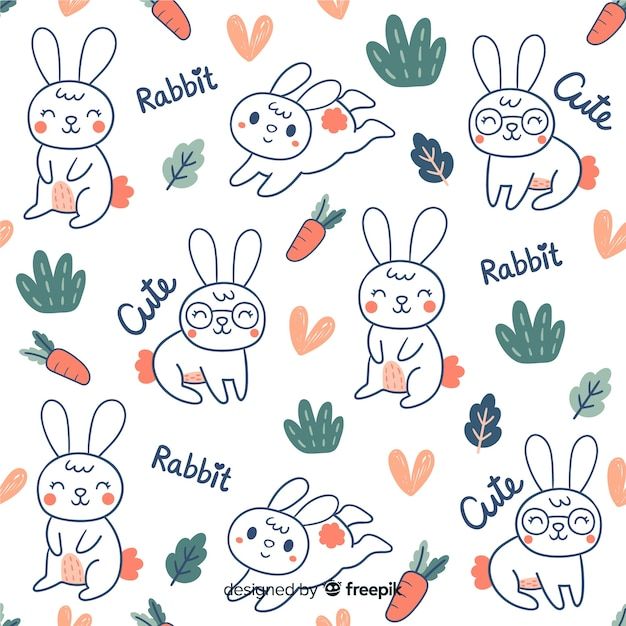Motif coloré de lapins et mots doodle Vecteur gratuit
