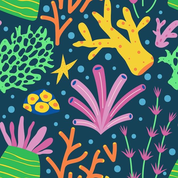 Motif Corail Coloré Illustré Vecteur gratuit