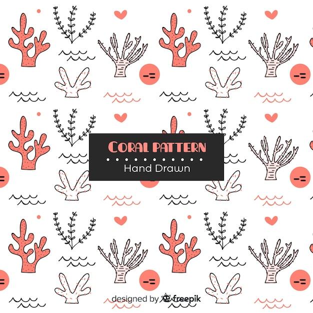 Motif corail dessiné à la main Vecteur gratuit