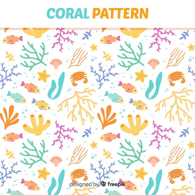 Motif corail plat Vecteur gratuit
