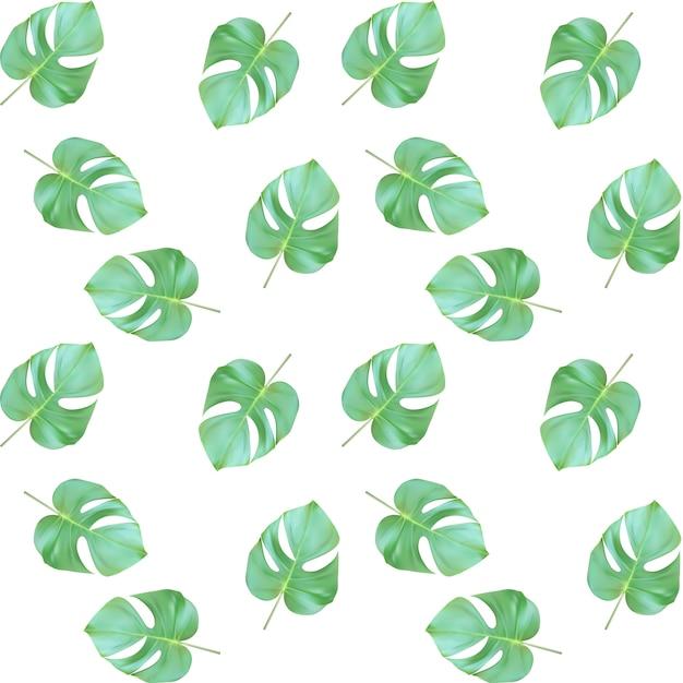 Motif de coutures. feuilles vertes naturalistes colorées sur la branche. Vecteur Premium