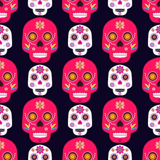 Motif de crâne mexicain Vecteur Premium