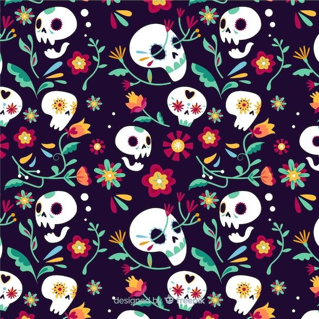 Motif de crânes floraux día de muertos Vecteur gratuit