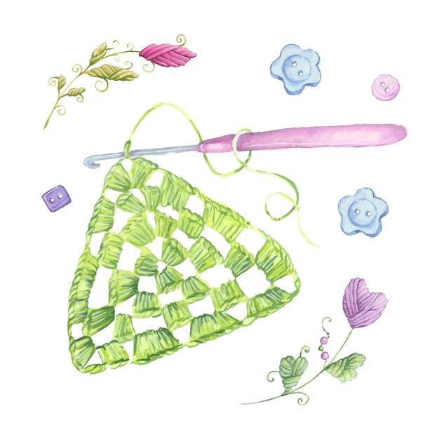 Motif De Crochet De Dessin Aquarelle Et Accessoires De Tricot. Vecteur Premium