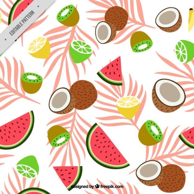 motif de fruits exotiques avec des feuilles de palmier t l charger des vecteurs gratuitement. Black Bedroom Furniture Sets. Home Design Ideas