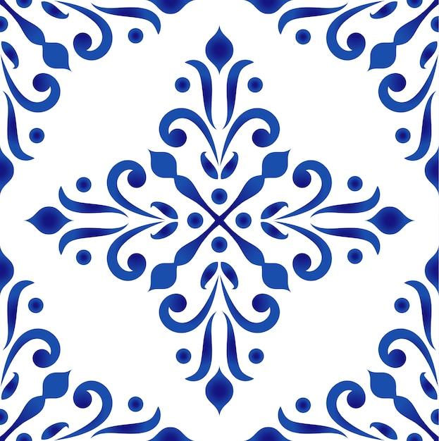 Motif décoratif en porcelaine de style baroque et damassé Vecteur Premium