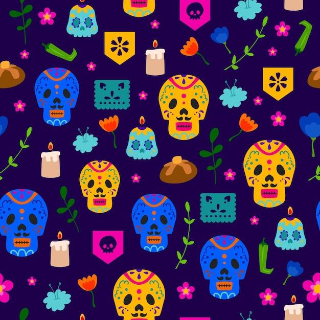 Motif Dia De Muertos Au Design Plat Vecteur gratuit