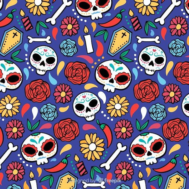 Motif dia de muertos dessiné à la main Vecteur gratuit