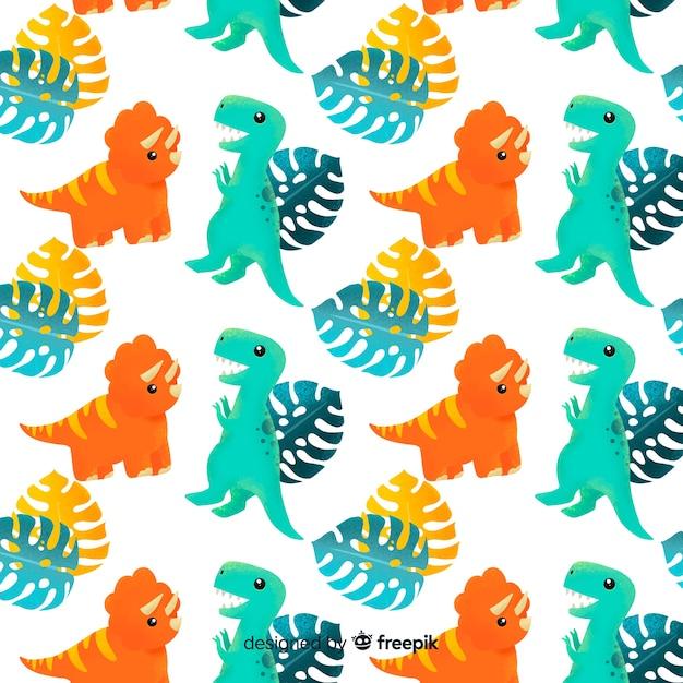 Motif de dinosaure dessiné main coloré Vecteur gratuit