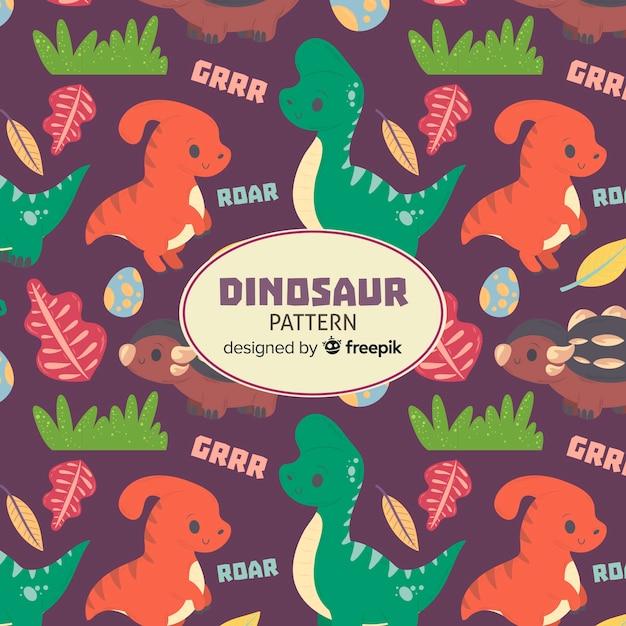 Motif de dinosaure dessiné à la main Vecteur gratuit