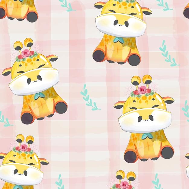 Motif doodle bébé girafe à l'aquarelle. Vecteur Premium