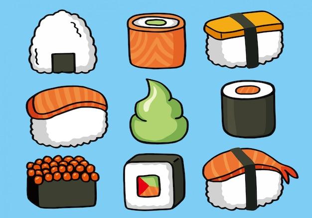 Motif doodle sans soudure onigiri et sushi Vecteur Premium