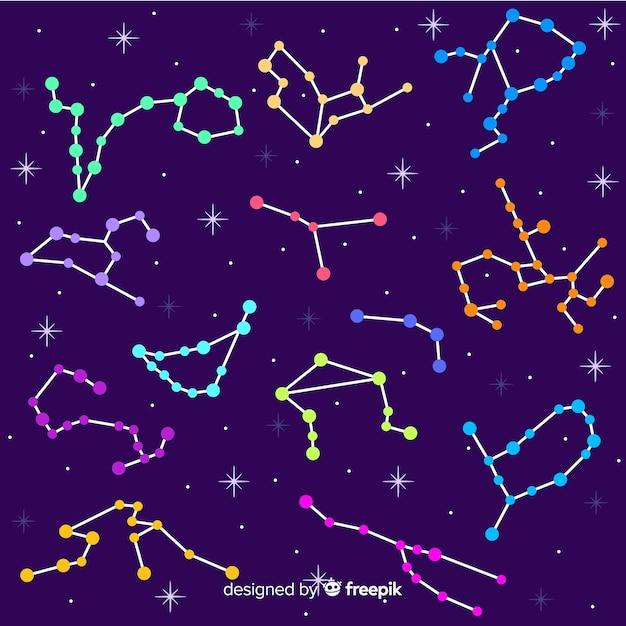 Motif du zodiaque coloré dessiné à la main Vecteur gratuit