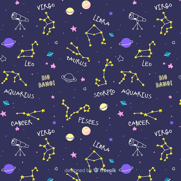 Motif du zodiaque dessiné à la main Vecteur gratuit