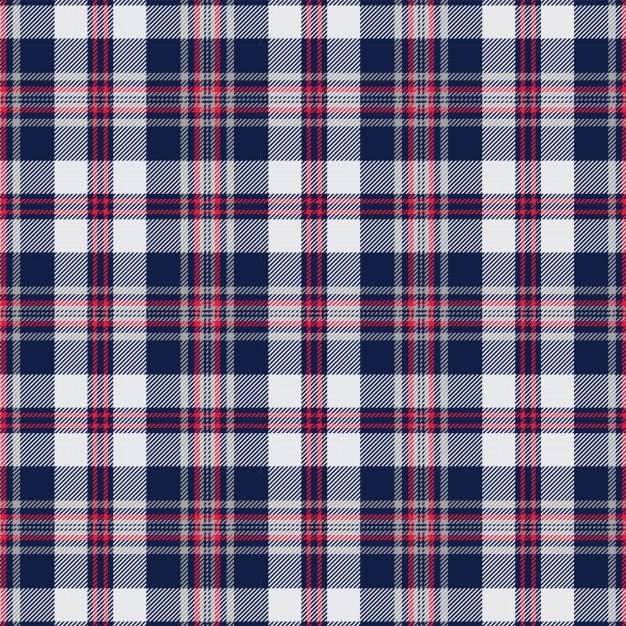 Motif écossais écossais bleu marine et blanc Vecteur Premium