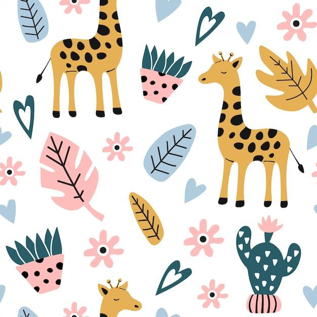 Motif Enfantin Sans Couture Avec Girafe. Vecteur Premium