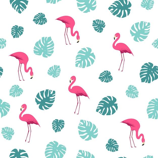 Motif d'été de feuilles de flamingo et de monstera Vecteur Premium