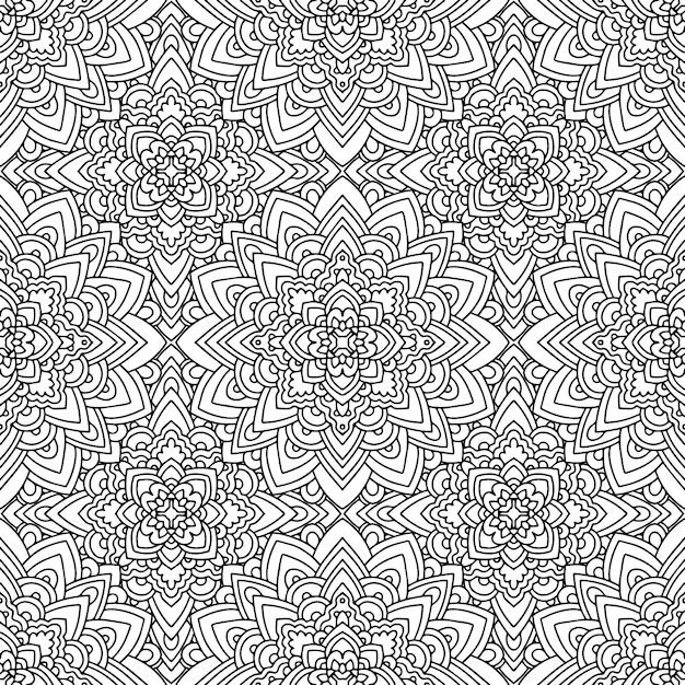 Motif ethnique homogène avec des motifs indiens d'amérique en couleurs noir et blancs. fond aztèque. Vecteur Premium