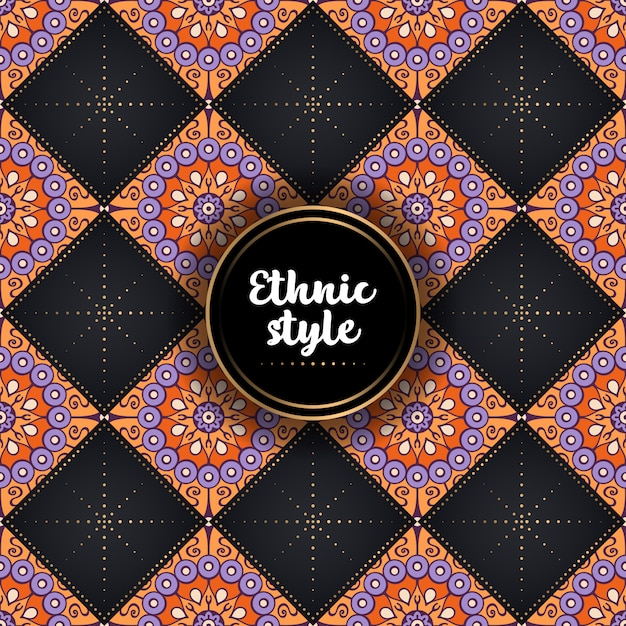 Motif ethnique ornemental de luxe Vecteur gratuit
