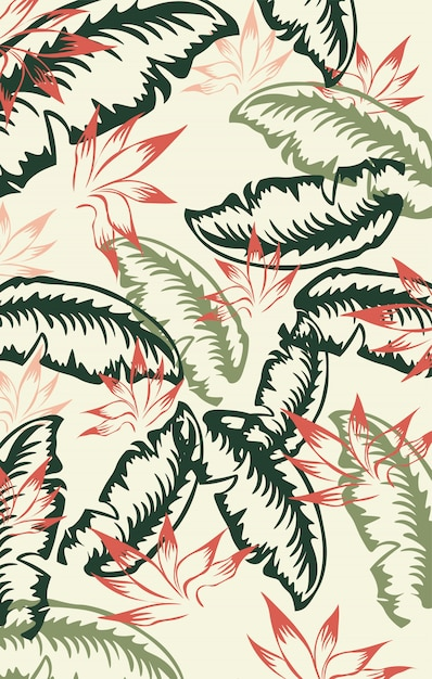 Motif De Feuille De Palmier Rouge, Vert Et Vert Foncé. Ancien Vecteur gratuit