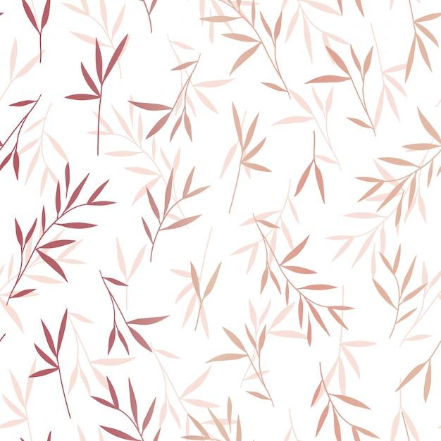 Motif de feuilles de bambou sans couture jolie rose or Vecteur Premium