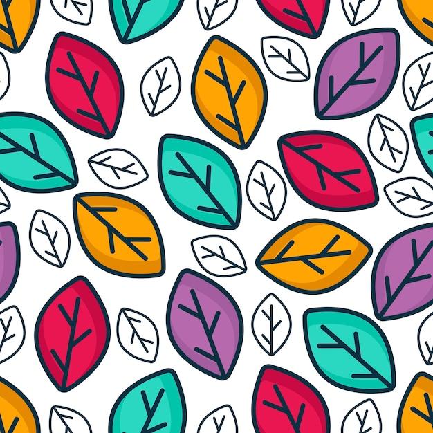 Motif de feuilles colorées Vecteur Premium
