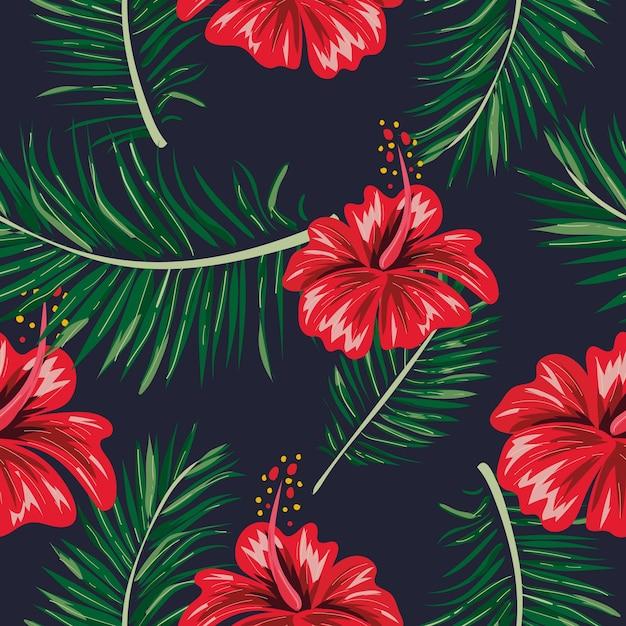Motif de feuilles et de fleurs tropicales sans soudure. Vecteur Premium