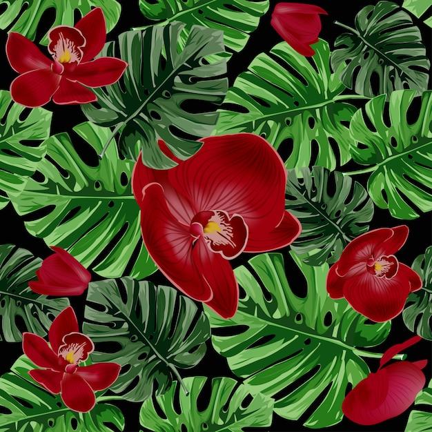 Motif de feuilles de palmier tropical et d'orchidées rouges. Vecteur Premium