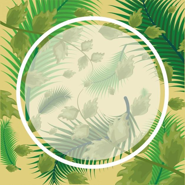 Motif de feuilles tropicales vertes avec cadre rond Vecteur gratuit