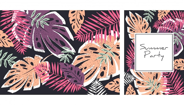 Motif feuilles tropicales Vecteur Premium
