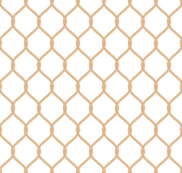 Motif De Filet Marin De Corde Vectorielle Continue Vecteur gratuit