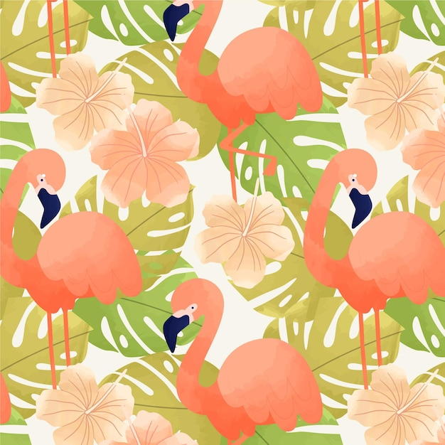 Motif De Flamants Roses Avec Des Feuilles Tropicales Vecteur gratuit