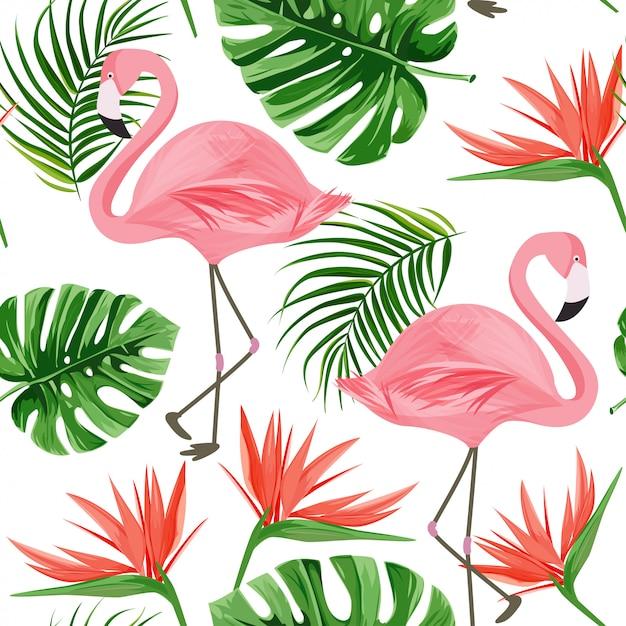 Motif flamingo. Vecteur Premium