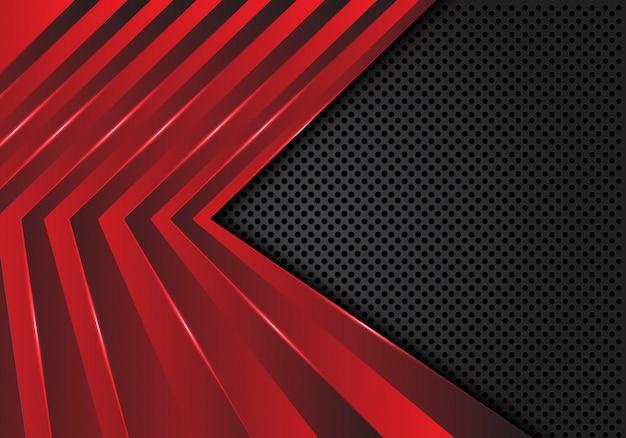 Motif flèche rouge sur fond de maille de cercle gris foncé. Vecteur Premium