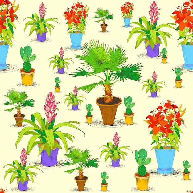 Motif de fleurs de bureau sans soudure Vecteur Premium