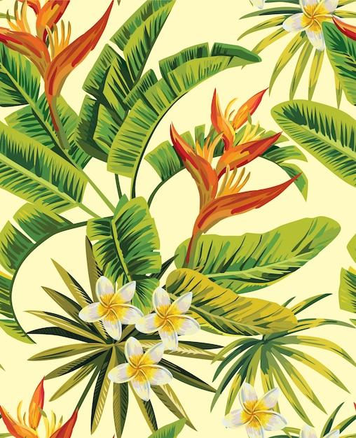 Motif de fleurs exotiques de plumeria tropical Vecteur Premium