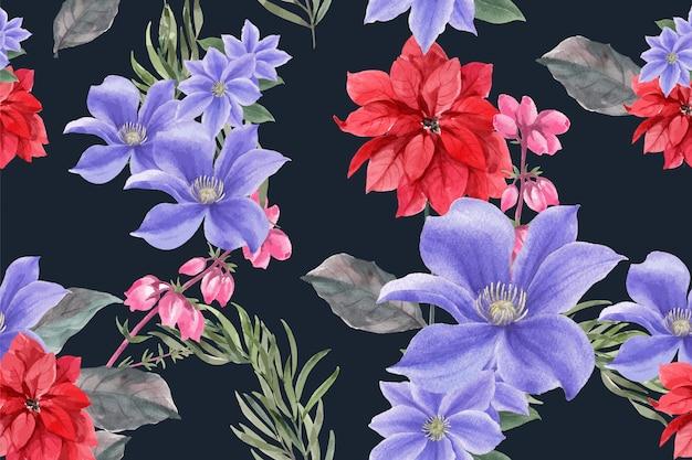 Motif De Fleurs D'hiver Avec Du Poinsettia Vecteur gratuit